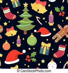 mooi, blauwe , model, seamless, symbolen, achtergrond, donker, kerstmis
