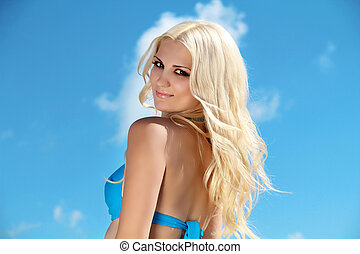 mooi, blauwe , op, hemel, blonde , plezier, meisje, strand, hebben