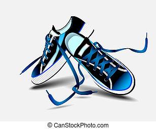 mooi, blauwe , paar, van, gymschoen