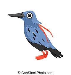 mooi, blauwe , vrijstaand, illustratie, vector, achtergrond, witte vogel