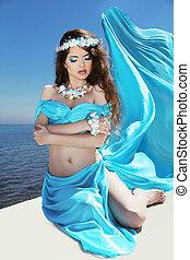mooi, blauwe , vrouw, enjoyment., op, freshness., kosteloos, summertime., weefsel, blazen, meisje, sky., vrolijke , het genieten van