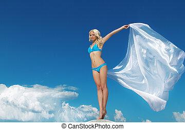 mooi, blauwe , vrouw, fabric., vacation., vrijheid, reizen, hemel, tegen, concept, kosteloos, blazen, gevoel