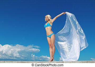 mooi, blauwe , vrouw, hemel, vacation., vrijheid, op, kosteloos, concept, sjaal, dame, reizen, vocation.