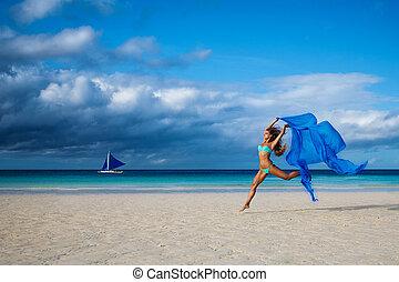 mooi, blauwe , vrouw, jonge, springt, weefsel, strand