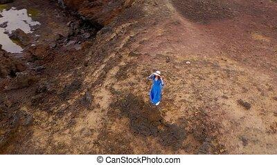 mooi, blauwe , vrouw, luchtopnames, stalletjes, berg,...