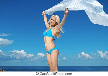 mooi, blauwe , vrouw ontspannend, vrijheid, op, hemel, jonge, concept, tissue., witte