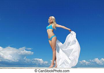 mooi, blauwe , vrouw, op, hemel, jonge, witte , manufacturen