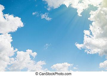 mooi, blauwe , wolken, achtergrond., hemel