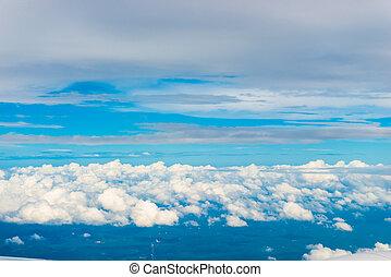 mooi, blauwe , wolken, hoogte, hemel, hoog, cumulus, venster, vliegtuig