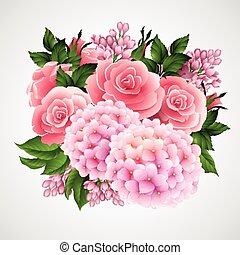 mooi, bloem, achtergrond, vector