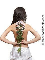 mooi, bloem, back, vrijstaand, achtergrond, meisje, witte