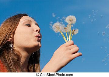 mooi, bloem, paardenbloem, jonge vrouw , blazen