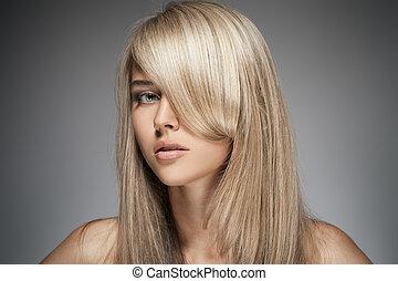 mooi, blonde , girl., gezonde , lang, hair.
