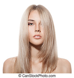 mooi, blonde , girl., gezonde , lang, hair., witte achtergrond