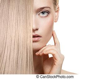 mooi, blonde, girl., gezonde , langharige