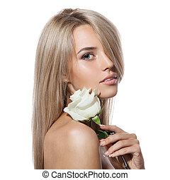 mooi, blonde , meisje, met, het wit nam toe