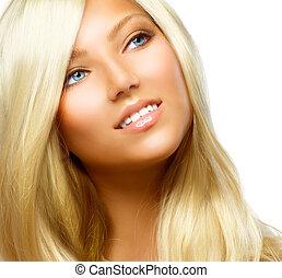 mooi, blonde , meisje, vrijstaand, op, een, witte...