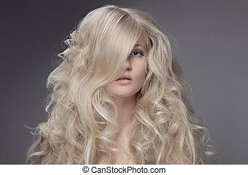 mooi, blonde , woman., krullend, langharige