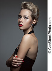mooi, blonde, woman., retro, mode, image.