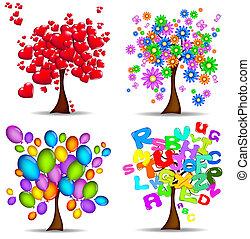 mooi, bomen, voor, alles, gelegenheden