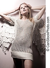 mooi, bont, engel, op, naakt, achtergrond, witte