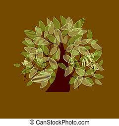 mooi, boompje, ontwerp, kunst, jouw