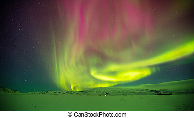 mooi, borealis, grit, winter, dageraad, periode, ijsland, vroeg