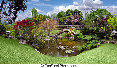 mooi, botanische tuin, op, de, huntington, bibliotheek, in,...