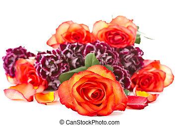mooi, bouquetten, anjers, rode rozen