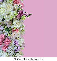 mooi, bouquetten, bloemen, met, anders, types, van, kleurrijke bloemen, op, rooskleurige achtergrond