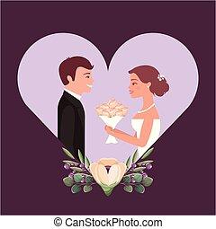 mooi, bouquetten, bruidegom, bruid