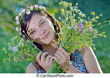 mooi, bouquetten, meisje, bloemen