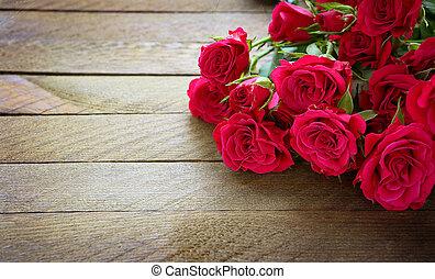 mooi, bouquetten, roze, roses., ouderwetse