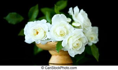 mooi, bouquetten, rozen, witte , vaas