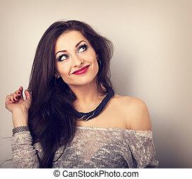 mooi, boven., stijl, vrouw, lippenstift, toned, denken, makeup, lang, het kijken, closeup, halssnoer, verticaal, haar, rood