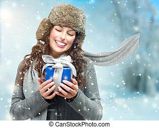 mooi, box., cadeau, jonge vrouw , meisje, kerstmis, verwonderd