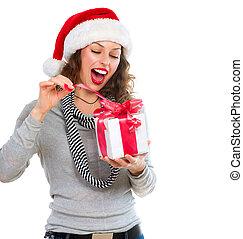 mooi, box., cadeau, opening, jonge vrouw , meisje, kerstmis, verwonderd