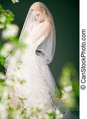mooi, bride., nadenkend, silhouette