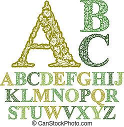 mooi, brieven, vector, lettertype, floral, alphabet.