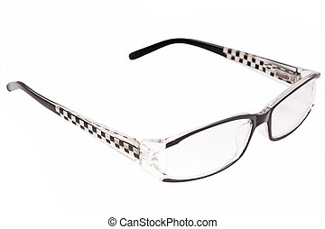 mooi, bril, vrijstaand, op wit, achtergrond