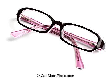 mooi, bril, vrijstaand, op wit