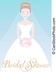 mooi, bruid, bloem, bouquet.
