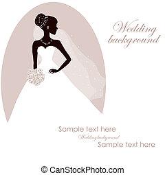 mooi, bruid, bouquetten