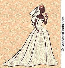 mooi, bruid, in, dress.