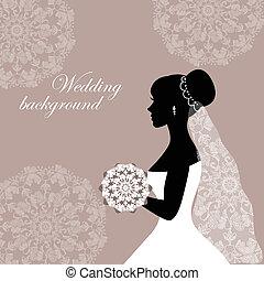 mooi, bruid, kant