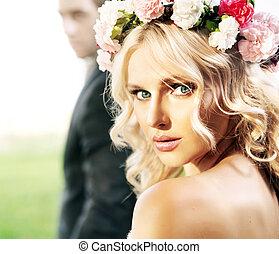 mooi, bruid, met, haar, echtgenoot