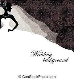 mooi, bruid, silhouette