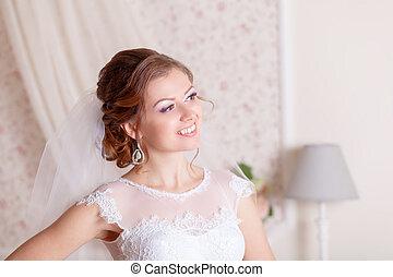 mooi, bruid, trouwfeest, makeup