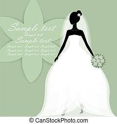 mooi, bruid, vector, jonge
