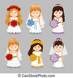 mooi, bruiden, set, bouquet., trouwfeest